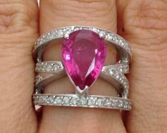 Big Pear Shaped Pink Tourmaline And Diamond Ring - 14K White Gold