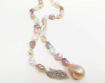 24 Inch Strand of Natural Baroque Pearls (Adjustable Multi-Wear Lariat Style) Necklace