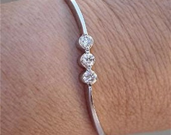 3 Bezel Set White Diamonds Bracelet Bangle - 14k White Gold