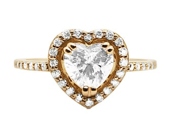 Rose Gold Heart Shaped Diamond Halo Engagement Ring 0.79 Carat