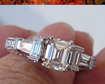 GIA Emerald Cut Diamond Engagement Ring - 18K White Gold 1.71 cttw