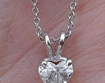 Heart Shaped Diamond Pendant - 0.25 Carat 14K White Gold, Yellow Gold, Rose Gold Diamond Solitaire