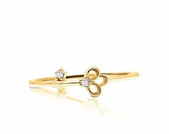 Yellow Gold Diamond Key Stacking Ring, Lock and Key, Petite Feminine Minimalist by Luxinelle