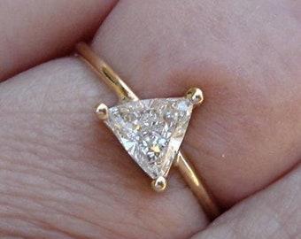 0.50 Carat Unique Trillion Cut Diamond - 14K Yellow, White or Rose Gold - Minimalist Triangle Diamond Ring by Luxinelle