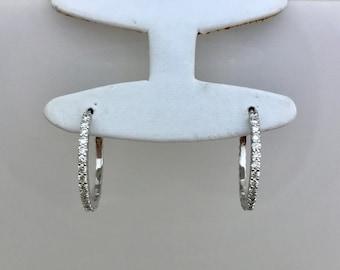 14K White Gold Diamond Hoop Earrings by Luxinelle