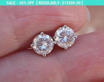 2 Carat Diamond Earrings - 4 Prong 14K White Gold SI1 H