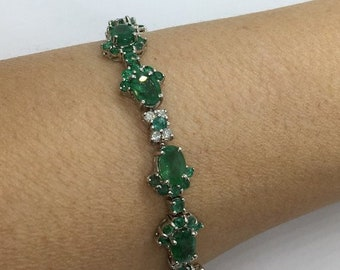 13.27 Carat Emerald and Diamond 14K White Gold Bracelet - 7 inches by Luxinelle