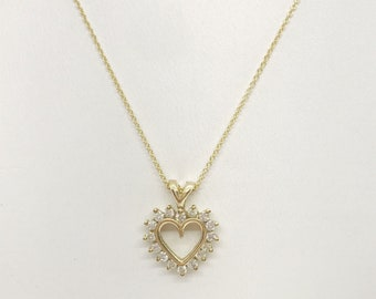 16 Diamond Heart Shaped Diamond Pendant Setting - 14K Yellow Gold by Luxinelle
