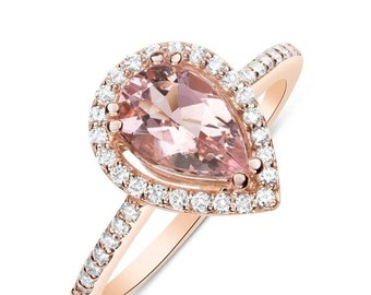 1 Carat Rose Gold Morganite Ring - Pear Teardrop Shape with Diamond Halo