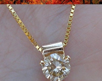 0.50 Carat Champagne Diamond Solitaire Pendant on a Chain 14K Yellow Gold