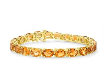Natural Oval Citrine Chain Bracelet - 14K Yellow Gold November Birthstone, Orange Gemstones 7.25 inch