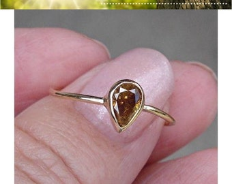 0.45 Carat Golden Brown Pear Cut Diamond Bezel Set Ring in 14K Yellow Gold