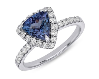 Vivid Blue 1.46 Tanzanite Ring in Trillion Cut with Diamond Halo - 14K White Gold by Luxinelle