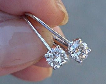0.50 Carat Diamond Earrings - Solitaire Leverback Drop 14K (Yellow Gold, White Gold and Rose Gold)