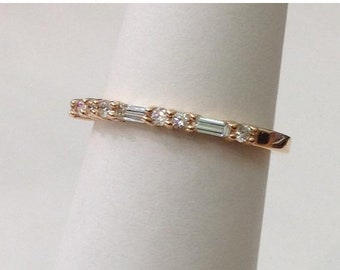 Straight Wedding Band of Baguette and Round Diamonds - 14K Thin Wedding Band Rose Gold