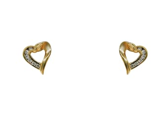 0.25 Carat Heart Shaped Pave Setting 14K Yellow Gold Diamond Stud Earrings by Luxinelle