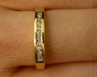 Channel Set  Diamond Yellow Gold Wedding Band Anniversary 14K Size 7 by Luxinelle 299 Specials