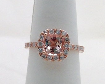 Rose Gold Morganite Wedding Ring Bridal Set Cushion Cut Diamond Halo with Matching Band by Luxinelle