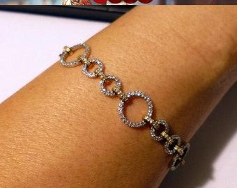2 Tone Gold Diamond Bracelet - 2 Carat Tennis Bracelet 14K Circle Link Chain by Luxinelle Jewelry