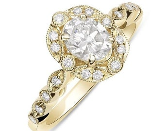 Natural Oval Diamond Vintage Style New Engagement Ring - 14K Yellow Gold 0.82TCW