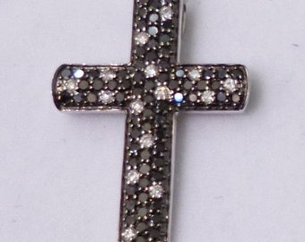 Black and White Diamond Cross Pendant - 14k