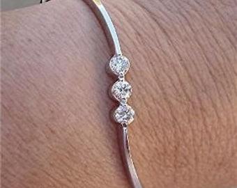 3 Bezel Set White Diamonds Bracelet Bangle - 14k White Gold