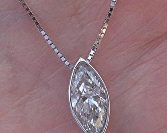 0.80 Carat Marquise Diamond Solitaire Necklace Bezel Set Pendant 14K White, Yellow or Rose Gold