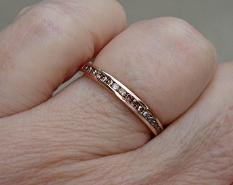 Channel Set Cognac Brown Diamond Band Wedding or Stacking - 14K Rose Gold, White Gold or Yellow Gold with 12 Diamonds