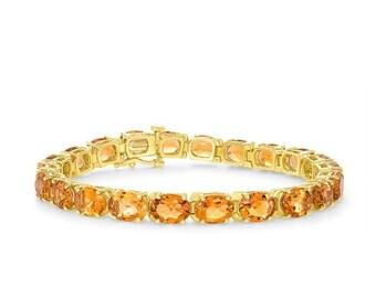 Natural Oval Citrine Chain Bracelet - 14K Yellow Gold November Birthstone, Orange Gemstones 7.25 inch