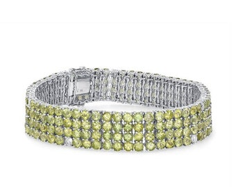 Petidot Bracelet with Diamonds 29.41 TCW - 14k White Gold - August Birthstone, Mother's Day, Anniversary