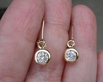 0.40 Carat Bezel Diamond Dangle Drop Earrings in 14K Yellow Gokd, Rose Gold or White Gold Leverback, Diamond Earrings