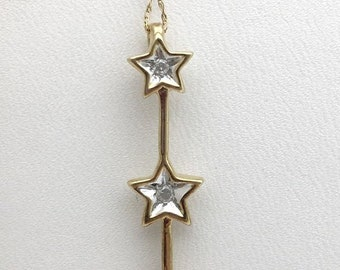 3 Star Diamond Drop Pendant Necklace - 2 Tone Gold - 10k Gold Star Charm