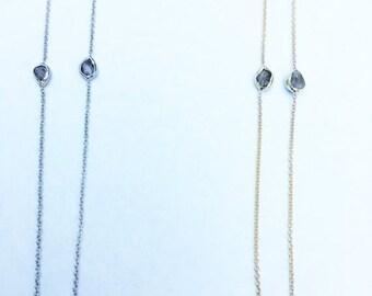 14K Yellow Gold Bezeled Pink Diamonds Necklacd Chain - 1 TCW Raw Uncut Rough Pink Diamonds