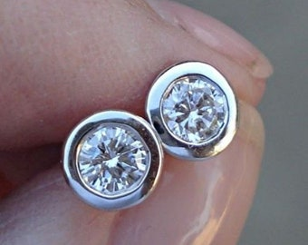 14K White Gold Diamond Bezel Earrings - 0.50 Carat Eye Clean SI/ G