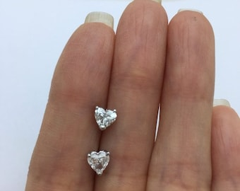 Diamond Heart Stud Earrings - SI1 G 14K White Gold