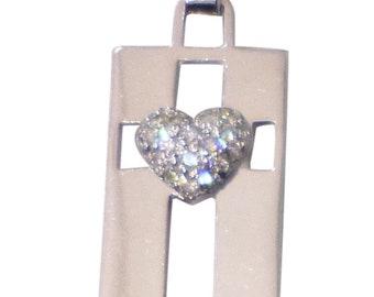 Diamond Heart on Cross Pendant - 14k White Gold