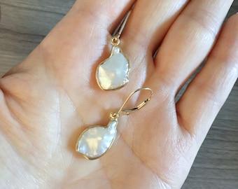 Freshwater Pearl Dangle Drop Earrings w 14K Yellow Gold Leverback
