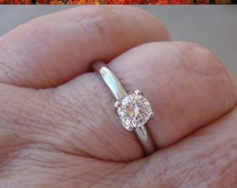 1/2 Carat Diamond Ring GIA 14K White, Yellow or Rose Gold 4 Prong Tulip Setting 0.56 carat G VS2
