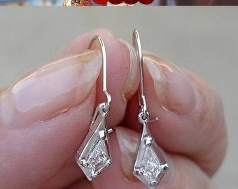 0.26 Carat Unique Custom Cut Diamond Dangle Drop Earrings - 14K White Gold - One of a Kind Diamond Earrings