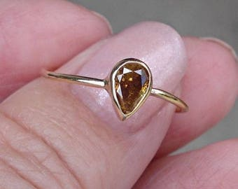 0.45 Carat Golden Brown Pear Cut Diamond Bezel Set Ring in 14K Yellow Gold by Luxinelle