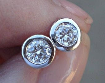 14K White Gold, Rose Gold, Yellow Gold Half Carat Bezel Diamond Stud Earrings - 0.50 TCW