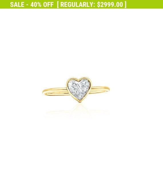 0272f52379 Yellow Gold 1/2 Carat Heart Shaped GIA VS2 F Diamond | Etsy