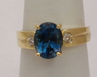 London Blue Topaz Gold Ring - Yellow Gold w 2 Diamond Accents