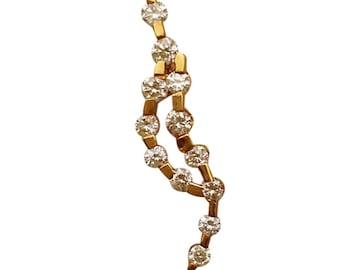 Yellow Gold Diamond Wave Pendant Charm Necklace - 14k