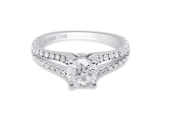 Ritani Setting 0.86 Carat Diamond Split Shank 18K White Gold Ring by Luxinelle