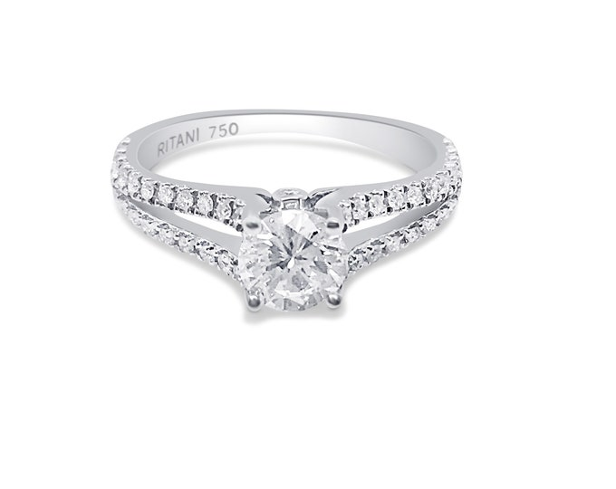 Featured listing image: Ritani Setting 0.86 Carat Diamond Split Shank 18K White Gold Ring by Luxinelle