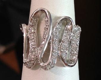 Large Diamond Ribbon Ring - 14k White Gold - Size 8, Resizable