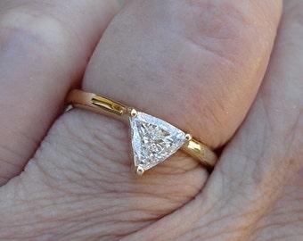 1/2 Carat Trillion Cut Minimalist Style Ring - 14K Yellow Gold, White Gold, Rose Gold or Yellow Golf, 0.50 Half Carat Diamond Ring
