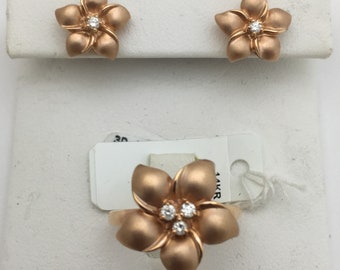 14K Rose Gold Hawaiian Flower Diamond Jewelry Set - Matching Stud Earrings and Ring by Luxinelle