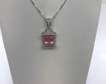 4.96 Carat Pink Tourmaline and Diamond Pendant on a Chain 14k White Gold Princess Cut